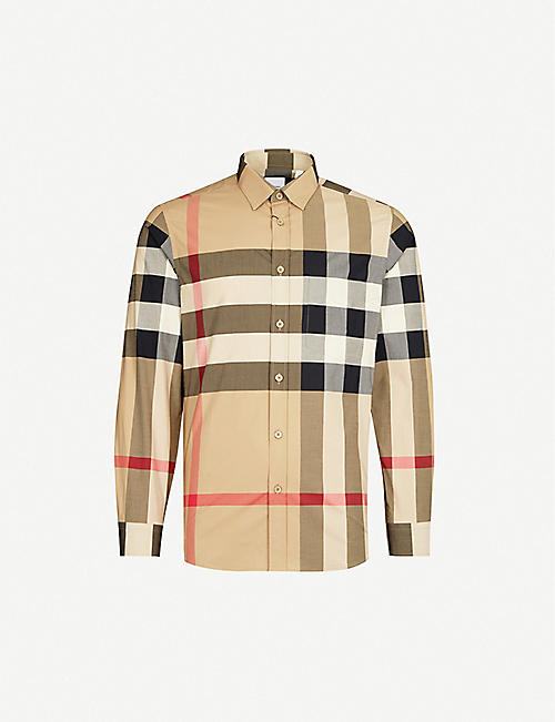 BURBERRY Somerton checked regular-fit stretch-cotton shirt