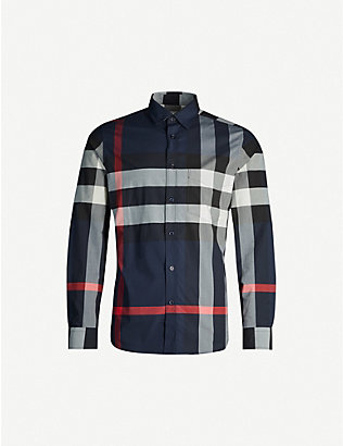 BURBERRY: Somerton checked regular-fit stretch-cotton shirt