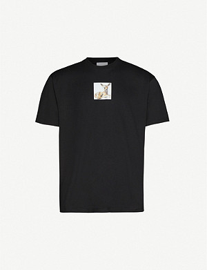 BURBERRY Devon deer-print oversized cotton-jersey T-shirt