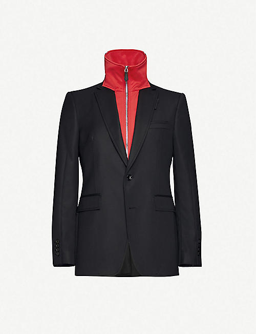 BURBERRY: Sweatshirt-panel striped-trim wool blazer