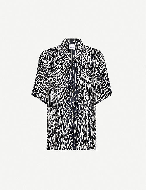 BURBERRY Animal-print relaxed-fit twill shirt