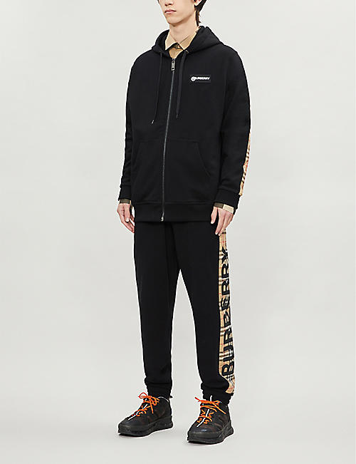 BURBERRY Asherby logo-patch cotton-jersey hoody