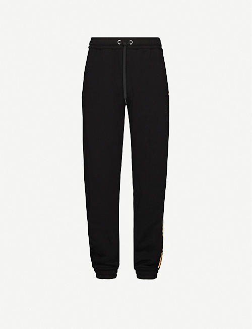 BURBERRY Atler side-stripe checked cotton-jersey jogging bottoms