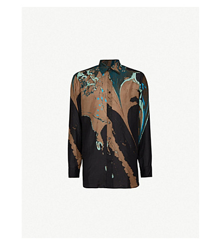 DRIES VAN NOTEN Marble-patterned regular-fit silk shirt (Black