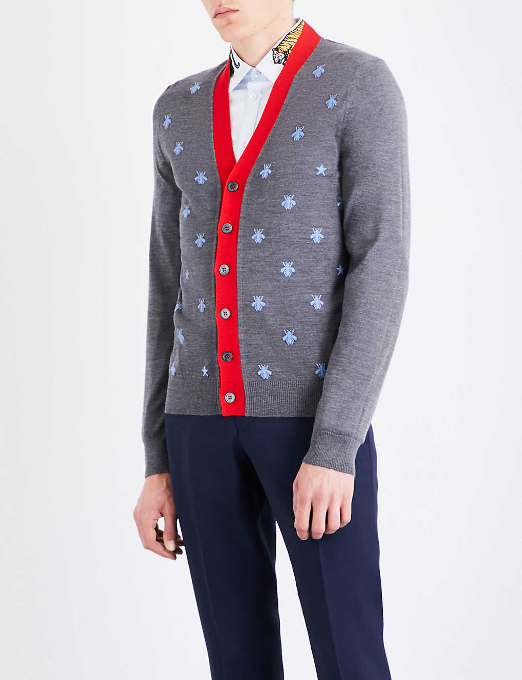 f7bc44935 GUCCI - Bee embroidered wool cardigan | Selfridges.com