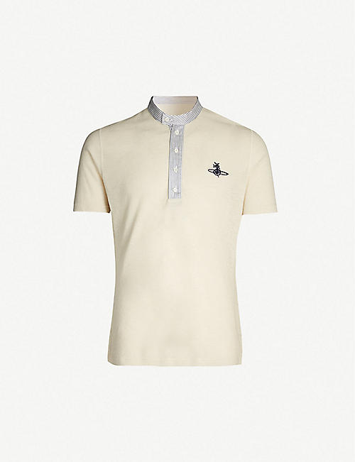 VIVIENNE WESTWOOD Contrast-trim logo-embroidered hemp and cotton-blend polo shirt