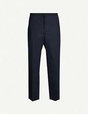 JIL SANDER Cropped tapered cotton-twill trousers