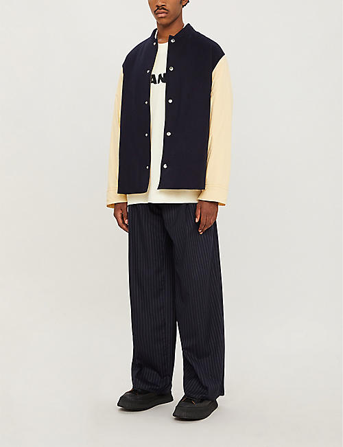 JIL SANDER Colour-blocked wool-blend and shell jacket