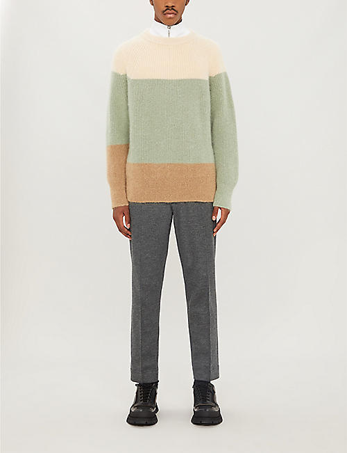 JIL SANDER Colour-blocked mohair-blend jumper