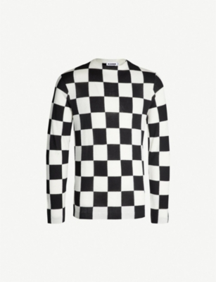 JIL SANDER Checkerboard wool and cotton-blend jumper