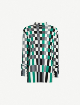 JIL SANDER Checkerboard cotton and wool-blend fine-knit jumper