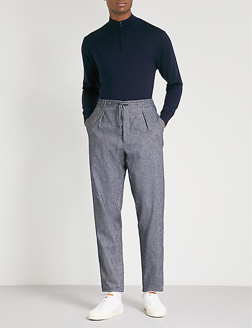FENDI Side-stripe relaxed-fit straight cotton and linen-blend trousers