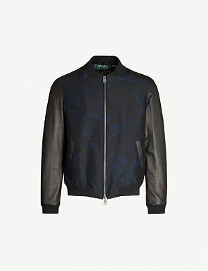 ETRO Floral-jacquard leather and satin bomber jacket