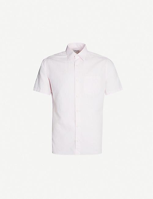 170fe192 TIGER OF SWEDEN Short-sleeved slim-fit cotton and linen-blend shirt
