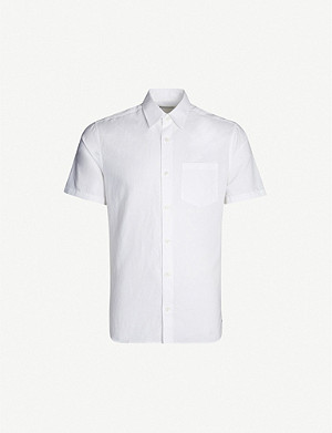 2ca806f8a8f9 TIGER OF SWEDEN · Short-sleeved slim-fit cotton and linen-blend shirt
