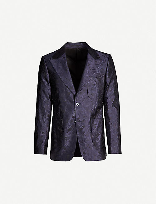 TIGER OF SWEDEN Floral-jacquard silk-satin blazer