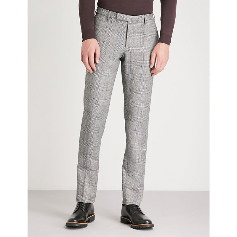 SLOWEAR Slim-Fit Wool Flannel Pants in Mid Blue