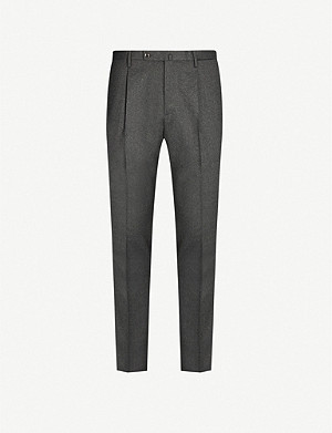 SLOWEAR Single pleat slim-fit wool-blend trousers