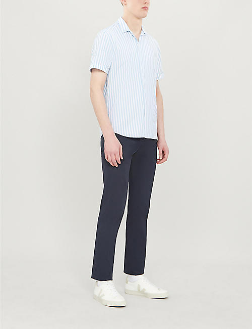 SLOWEAR Short-sleeved regular-fit striped cotton shirt