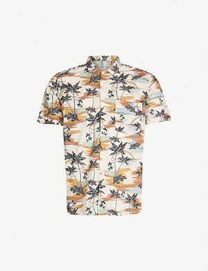 SLOWEAR Jungle-print short-sleeved regular-fit cotton shirt
