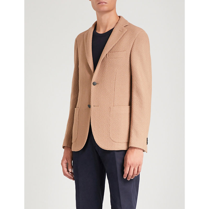 SLOWEAR Slim-Fit Single-Breasted Bouclé Jacket in Beige
