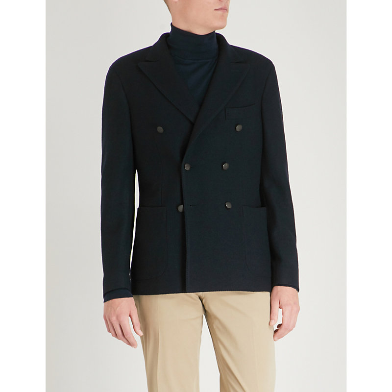 SLOWEAR Montedoro Knitted-Wool Double-Breasted Jacket in Navy