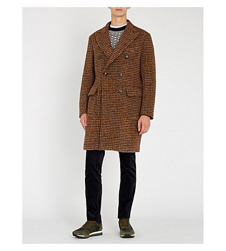 SLOWEAR Houndstooth Alpaca-Blend Coat in Brown