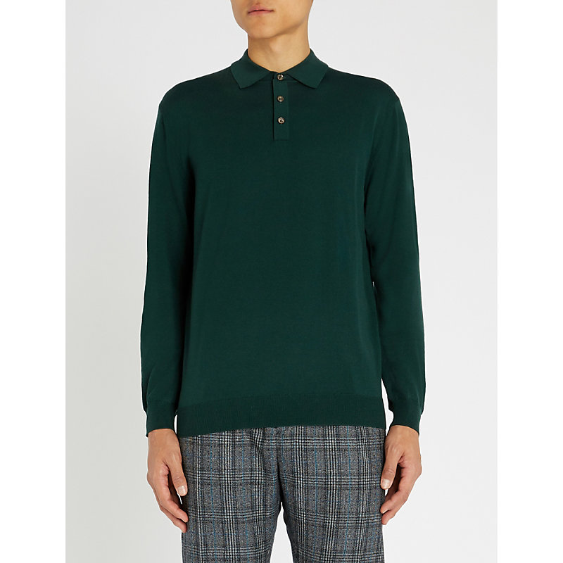 SLOWEAR Long-Sleeved Wool-Blend Polo Shirt in Green