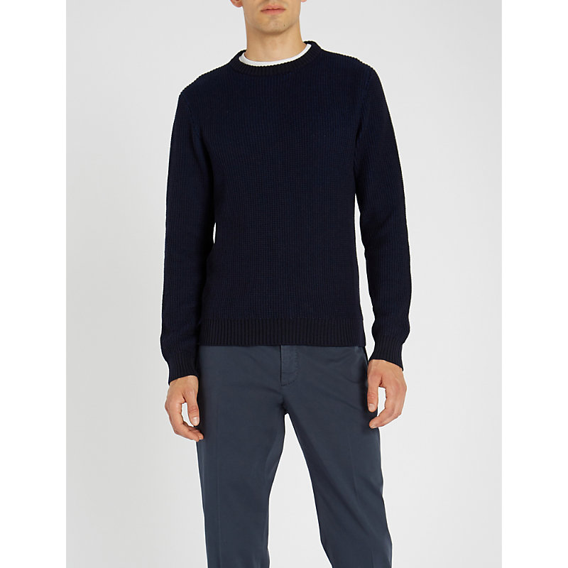 SLOWEAR Zanone Wool-Blend Jumper in Navy