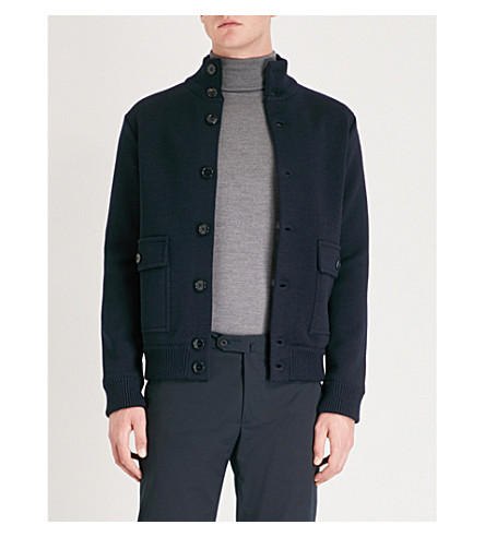 SLOWEAR High-Neck Wool Knitted Bomber Jacket in Navy