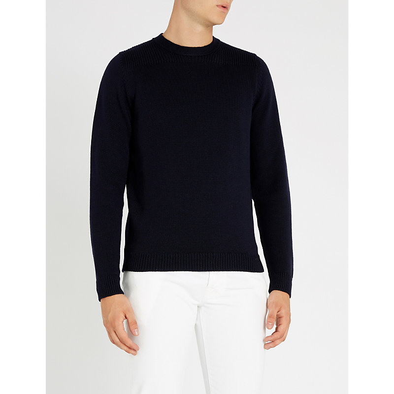 SLOWEAR Crewneck Wool Jumper in Navy