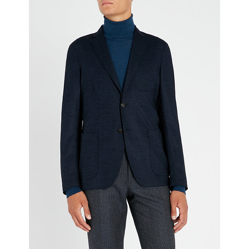 SLOWEAR Herringbone-Weave Regular-Fit Wool-Blend Jacket in Blue