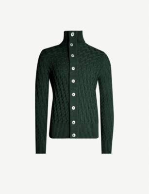 S.N.S. HERNING Stark funnel-neck cable-knit wool cardigan