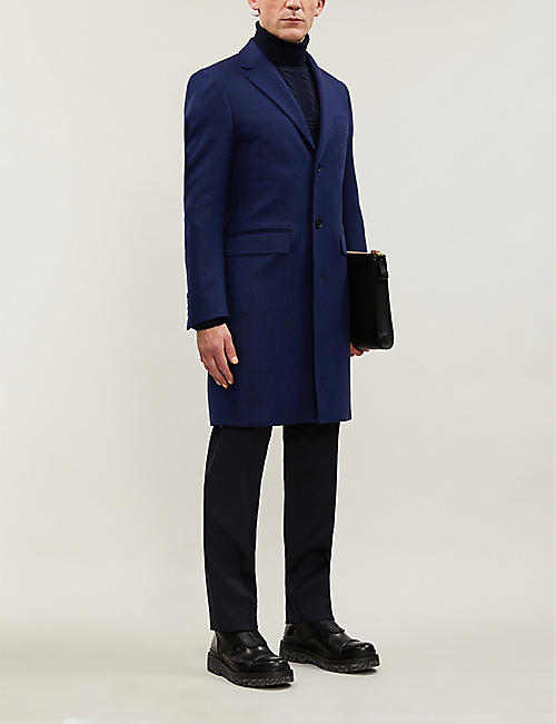 CROMBIE Single-breasted herringbone wool coat