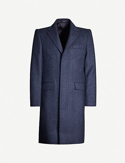 CROMBIE Herringbone-pattern single-breasted wool coat