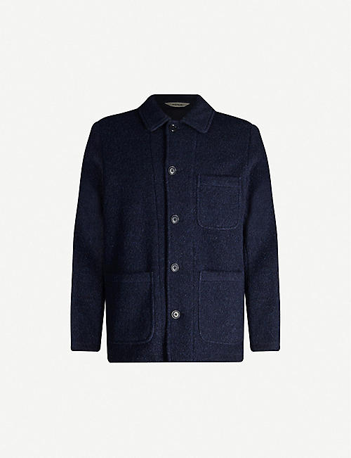 ASPESI Spread-collar wool and cotton-blend coat