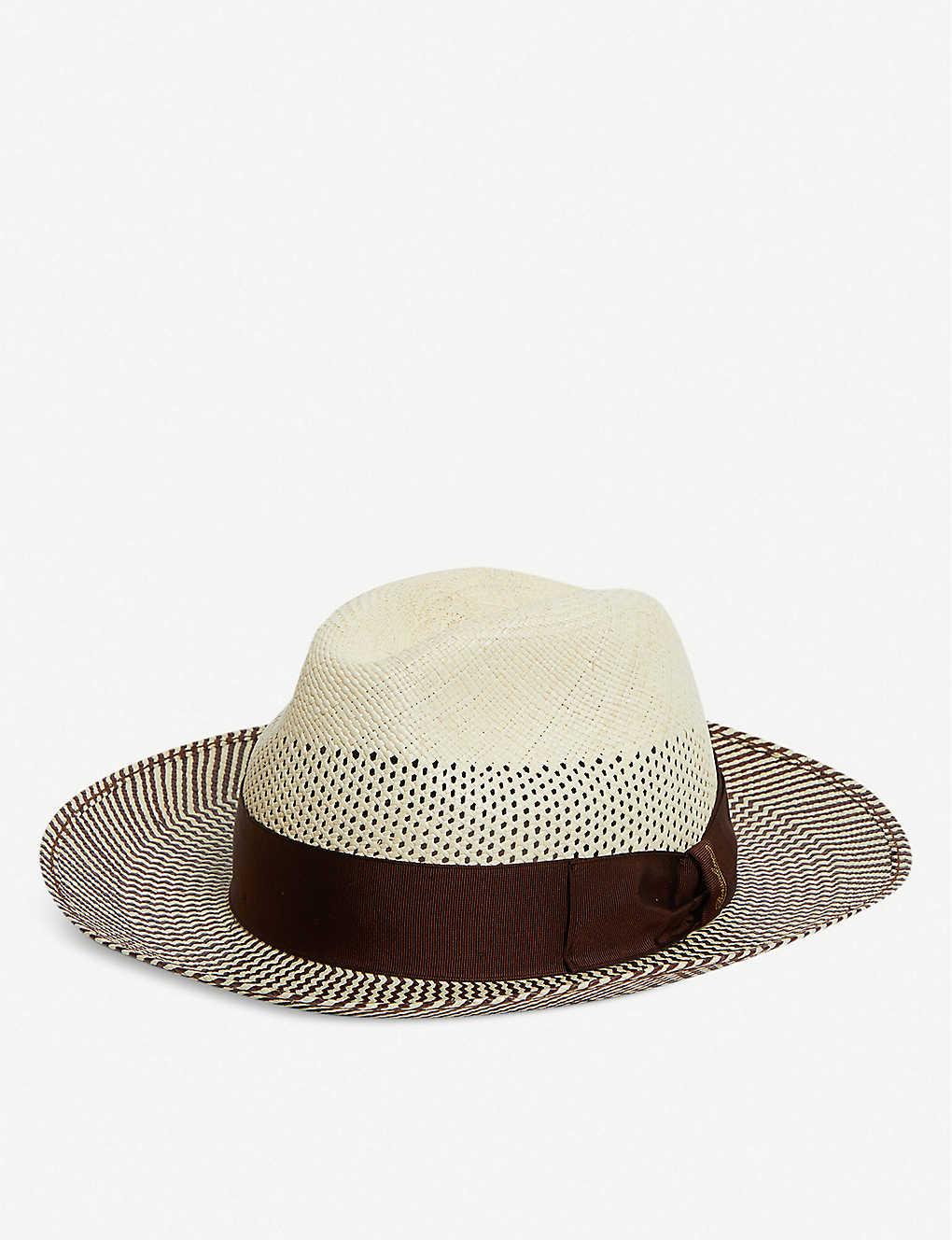 82a4411d1891c3 BORSALINO - Two-tone straw Panama hat | Selfridges.com