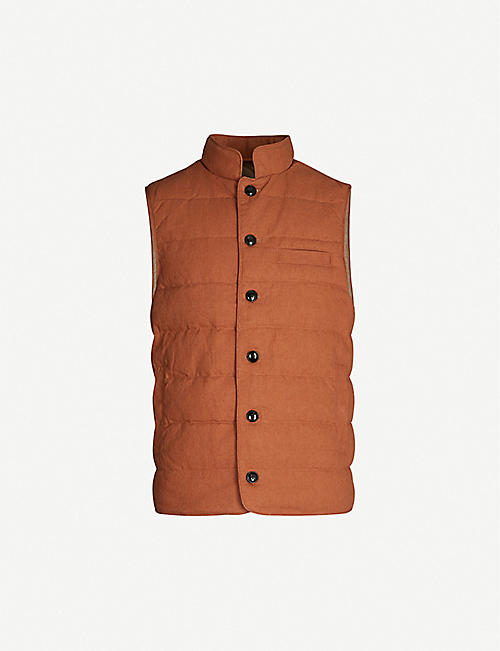 STENSTROMS Padded linen and cotton-blend gilet
