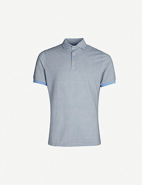 STENSTROMS Geometric pattern cotton-piqué polo shirt