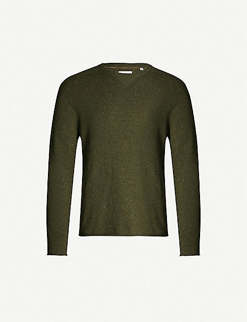 BILLY REID Heirloom crewneck wool- and leather-blend jumper