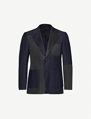 TIGER OF SWEDEN Javio padded-shoulder contrast-satin wool blazer