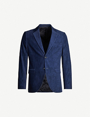 TIGER OF SWEDEN Notch-lapel slim-fit cotton-velvet blazer