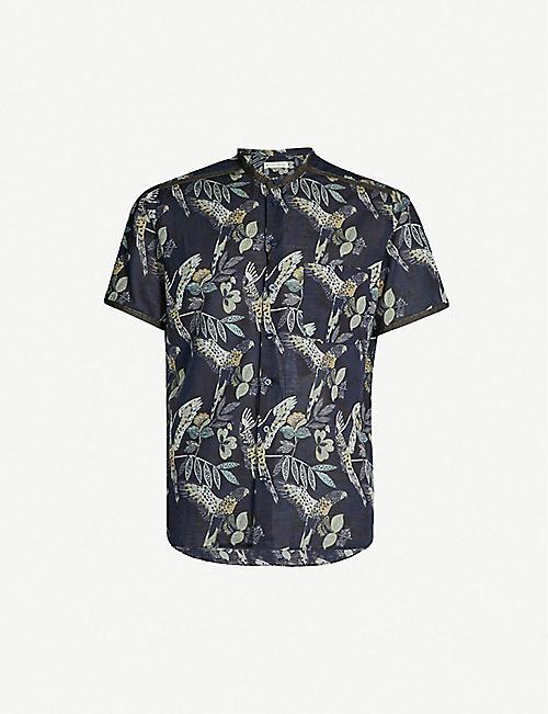 f116c91abf46c ETRO Leaf-print regular-fit cotton and linen-blend shirt