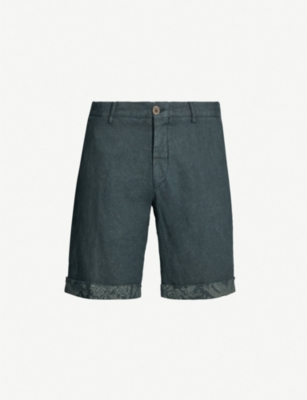 ETRO Contrast-cuffs regular-fit straight linen shorts