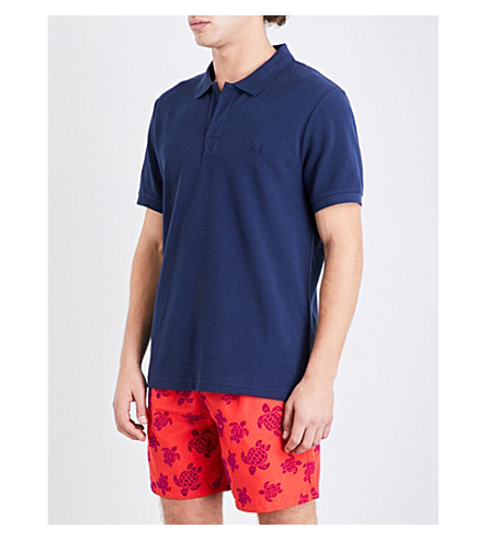 Vilebrequin Mens Navy Classic Palatin Cotton-PiquÉ Polo Shirt
