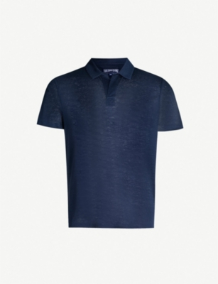 VILEBREQUIN Logo-embroidered linen polo shirt