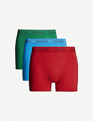 CALVIN KLEIN: Classic-fit stretch-cotton trunks pack of three
