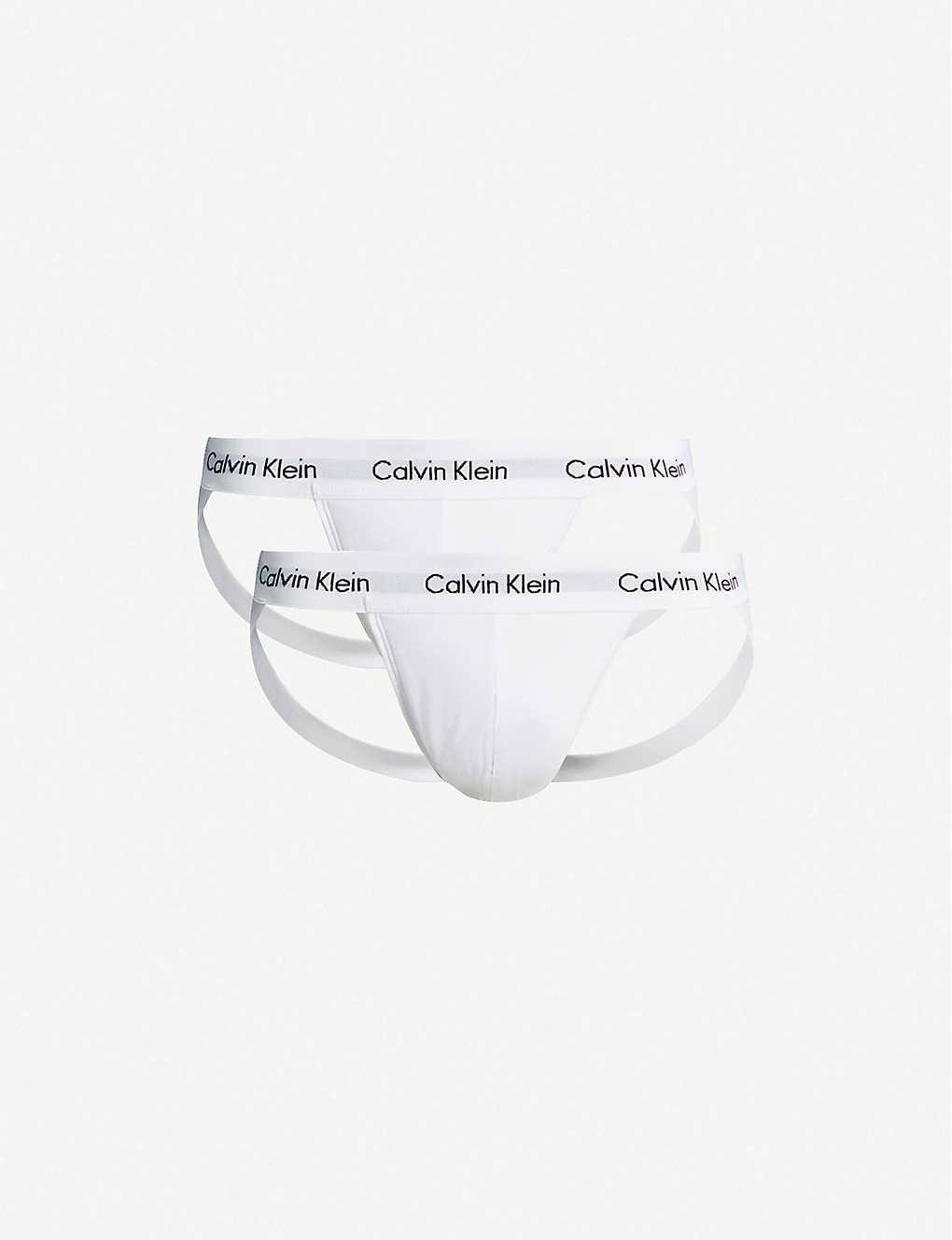 CALVIN KLEIN: Logo-embellished stretch-cotton jockstraps pack of two