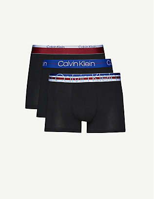 CALVIN KLEIN: Pack of three slim-fit stretch-cotton trunks