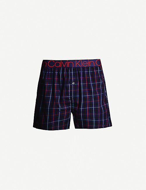 CALVIN KLEIN Checked logo-print cotton boxers